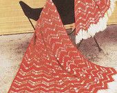 Instant Download PDF  Vintage Knitting Pattern to make Chevron Tweed  Afghan Blanket Throw Afghan Blanket Picnic Rug Chevron Afghan Crochet
