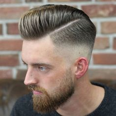Short Modern Pompadour with High Skin Fade and Beard