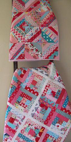 Modern Log Cabin Quilt Aqua Pink & Red by SouthernBelleDesigns