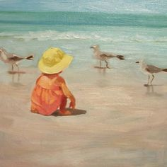 """""""Beach Baby"""" by Margaret Aycock on fineartamerica.com - The artist used the medium of oil on canvas for this refreshing painting."""
