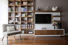 asymmetrical arrangement. floating storage cabinet.