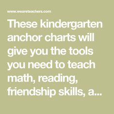 These kindergarten anchor charts will give you the tools you need to teach math, reading, friendship skills, and much more!