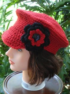 hand crochet Newsboy Cap Hat MADE TO ORDER ♥ by annmag on Etsy, $35.00