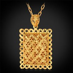 Hollow Pendant Necklace 2015 New Trendy 18K Real Gold Plated New Square Shape Necklaces & Pendants For Women/Men Jewelry