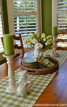 Green Easter and spring table setting. #spring #diningroom #shabby chic Easter Crafts, Easter Decor, Umbrella Wreath, Awesome, Amazing, Table Accessories, Pine Cones, Fresh Flowers, Country Kitchen