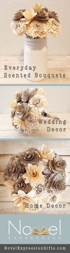 NovelExpression helps you light up your home and give the gifts that last. Everyday Scented Wooden Flower Bouquets | Folded Book Art | Wedding Decor  Shop: NovelExpressionGifts.com