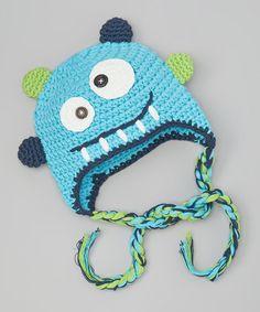 Teal Monster Earflap Beanie #crochet #inspiration