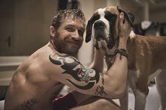 And chillin' with the cutest dog. | Your Ovaries Will Not Survive Shirtless Tom Hardy