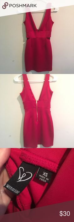 Windsor Red Dress Low cut red dress from Windsor! It was only worn one time, and it's in great condition :) WINDSOR Dresses Mini