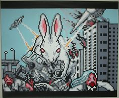 Giant Space Bunny Attacks by pixelartpaintings on Etsy, $1000.00
