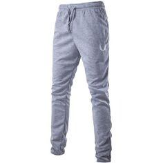 Drawstring Zip Cuff Embroidered Jogger Pants ($8.61) ❤ liked on Polyvore featuring pants, drawstring pants, drawstring trousers, light grey pants, draw string pants and embroidered pants