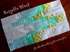 """SOMETHING NEW SAMPLER: MODERN BARGELLO BLOCK posted by Amy- You'll need five fabrics for this block. I used white as the """"background"""", but a print will work as well"""