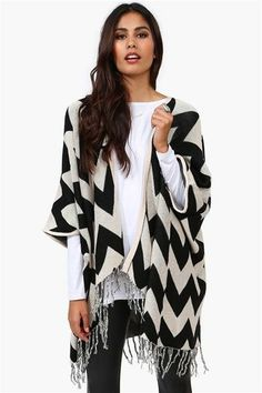 Black & White Open Knit Cardigan with Black pants and a white shirt.