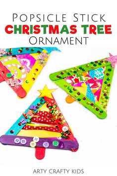 Looking for DIY Christmas tree popsicle stick ornaments for kids to make at home or at preschool? These Christmas popsicle stick crafts for kids are made with popsicle sticks + ribbon + buttons + sequins and make great gifts! Get instructions for these easy popsicle stick ornaments for kids + other easy Christmas crafts for kids here! Holiday Popsicle Stick Crafts for Kids | Homemade Christmas Ornaments for Kids to Make with Popsicle Sticks Tree Decorations | Christmas Tree Crafts for Kids Christmas Crafts For Toddlers, Christmas Crafts For Kids To Make, Christmas Tree Crafts, Diy Gifts For Kids, Easy Crafts For Kids, Christmas Activities, Homemade Christmas, Kids Christmas, Preschool Activities