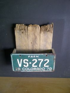 old license plate magazine holder