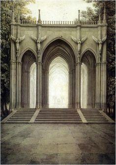 Karl Friedrich Schinkel: Proposed Mausoleum for. Queen Luise, Schloss Charlottenburg park, 1812