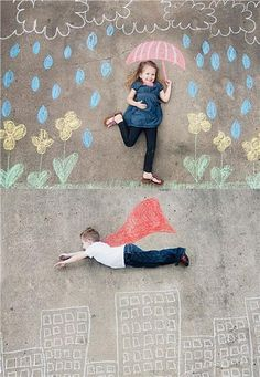 A great idea for kids to draw their own scenery. Might need a step ladder to take the photo!