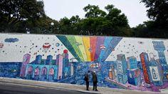 #Lisboa ganha painel de André Saraiva que mistura grafite e azulejos tradicionais