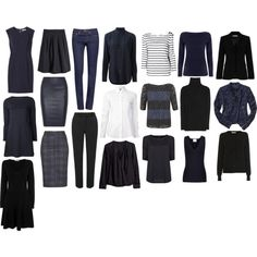"""Capsule Wardrobe: Navy and Black"" by wardrobeoxygen on Polyvore"