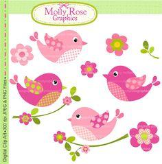 Birds clip art , Digital Clip Art birds and flowers, Invitation, Card Making… Clipart Baby, Cute Clipart, Patch Quilt, Applique Quilts, Vogel Quilt, Quilling Images, Bird Quilt, Image Clipart, Clip Art