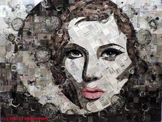 Fine art from upcycled junk mail in art  with upcycle repurpose recycle Portrait mosaic fine art Art