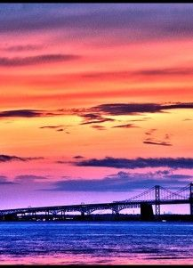 Chesapeake Bay Bridge Sunset, Maryland. I lived in a house on the Bay so I was treated to this view on a daily basis.