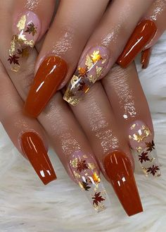 fall nails, brown nails, autumn nail ideas, acrylic nails #fallnails #fallnailsdesign Aycrlic Nails, Pink Nails, Cute Nails, Pretty Nails, Coffin Nails, Cute Fall Nails, Fall Acrylic Nails, Fall Nail Art, Fall Nail Designs