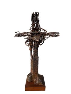 Sculpture available for sale. Name: Crucifix, Tehnique: Iron Size: 52/32/10 cm, Year: 2012