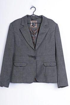 Emilio Corali Womens 42 L Jacket Grey Blazer Milano Single Breasted - RetrospectClothes