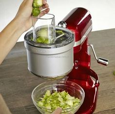 Turn any KitchenAid stand mixer into a powerful food processor with this attachment that slices, dices and shreds with ease. Simply attach to your KitchenAid's moto. Kitchenaid Food Processor, Food Processor Recipes, Kitchenaid Attachments, Desserts, Table, Art, Products, Tailgate Desserts, Art Background