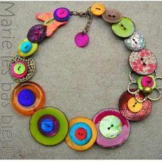 Button Necklace by Marie-Christine Ruaux. Finally a button necklace I like! Button Art, Button Crafts, Beaded Jewelry, Handmade Jewelry, Jewelry Necklaces, Button Jewellery, Jewelry Logo, Boho Jewelry, Bracelets