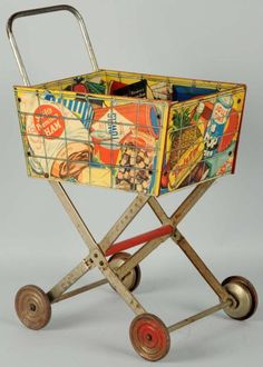 "20"" lithographed tin toy shopping cart, featuring Coca-Cola branding, United States, 1950-59, maker unknown."