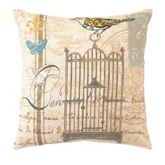 Linen-blend pillow with a bird and script motif.   Product: Pillow Construction Material: Linen blend cover and polyes...