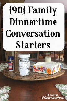 I love family dinnertime conversation starters because its a great way to learn about others and myself too They build good communication skills in our children and help. Conversation Starter Questions, Conversation Starters For Kids, Family Communication, Good Communication Skills, Christian Homemaking, Christian Parenting, Dinner Games, Food To Go, Family Night