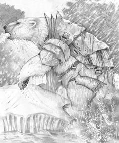 Armoured Bear - Steve Hutton - illustration for His Dark Materials by Philip Pullman Iorek Byrnison, Northern Lights Tattoo, His Dark Materials Trilogy, The Book Of Dust, The Golden Compass, Beloved Book, History Of Reading, Creature Design, Dungeons And Dragons