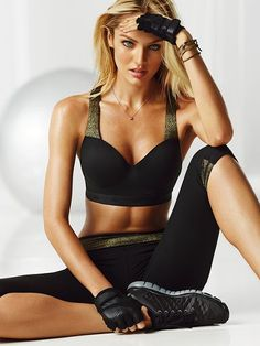 LOVE it! Showtime by Victoria's Secret Sport Bra and Sport Knockout Crop in Black/Gold Sparkle. $52 - $62