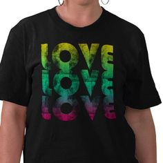 Bright neon colors rainbow love t-shirt.