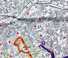 Map showing points where around Notting Hill the you can hire a bike under the London wide Cycle Hire Scheme. You can pick up a bike at one point and then drop it at another point.  The closest hire point to the home is Blenheim Crescent and corner of Ladbroke Grove.