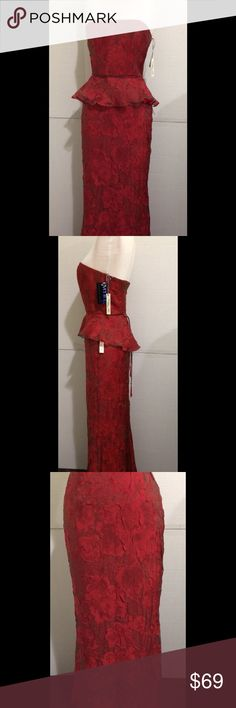 Kay Unger New York 2 Pcs Gown Formal Strapless Kay Unger New York 2 Pcs Gown Formal Strapless Dress Suit Red &Black SZ2 $250+ Kay Unger Dresses Strapless