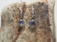 Labradorite Earrings Faceted Labradorite Trillions & Sterling Silver French Earring Wire by Noduri on Etsy