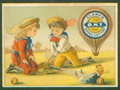 Advertising Trade Card Ont Clarks Spool Cotton Thread Children Cannon Doll