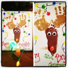 handprint and footprint art | Handprint and footprint art reindeer! Added a set of multi colored ...