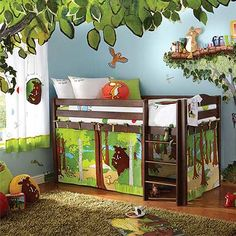 Jungle Kids Bedroom Theme With Soft Rugs, Wood High Bedding And Animal Wall Decor Awesome Jungle Kids Bedroom Theme Kids Room jungle bedroom themed jungle safari rooms jungle themed bedroom Kids Bedroom Designs, Kids Room Design, Room Kids, Kids Rooms, Childrens Tent, Childrens Bedroom, Childrens Wardrobes, Childrens Playhouse, Kura