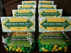 Dual Baby Shower Ideas | Double the Fun (Twins ) - This is a spin off of double mint gum.