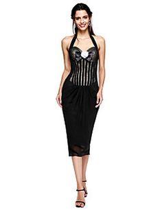 TS Couture® Soirée Cocktail Robe - Petite Robe Noire Fourreau / Colonne Licou Longueur Genou Mousseline de soie avecNoeud(s) / Fleur(s) /