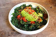 Vegan cavolo nero & tempeh stir fry with avocado