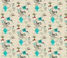 Atomic barkcloth boomerang fabric by gesenared on Spoonflower - custom fabric