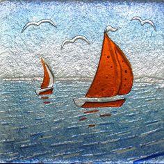Brixham - sailing boats Glass Wall Art, Fused Glass Art, Stained Glass Art, Mosaic Glass, Glass Fusing Projects, Stained Glass Projects, Glass Boat, Water Glass, Glass Fusion Ideas