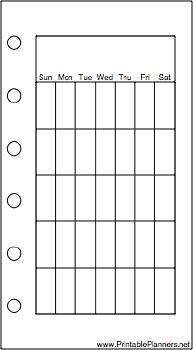 This daily planner page goes on the right-hand side of your mini organizer sized datebook. It has one month per page and is oriented vertically. Free to download and print