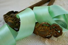 Vintage French, wide satin ribbon, French satin trim, minty Spring green, millinery, mixed media, fabric collages, Easter projects, 3 yards